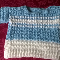 Baby Boys Crochet Blue and White Sweater
