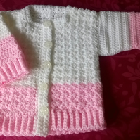 Hand Crochet Little Girls Cardigan 3 - 6 months