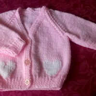 Little Girls V Neck Cardigan with Swiss Darned Heart Design