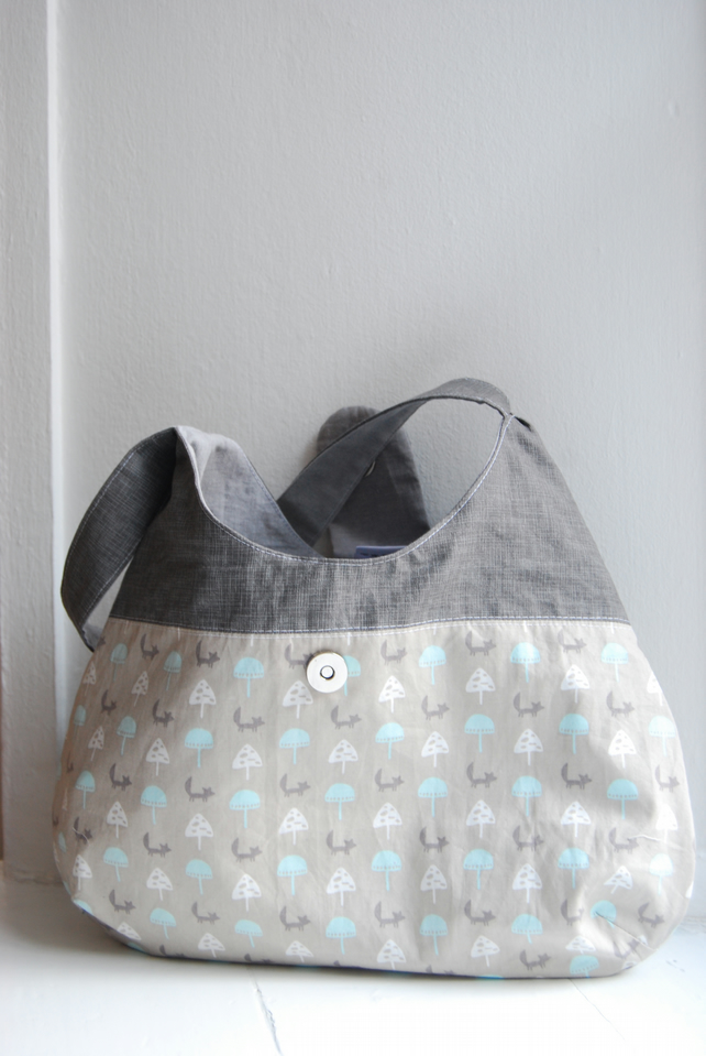 Handmade pure cotton magnetic snap closure bag