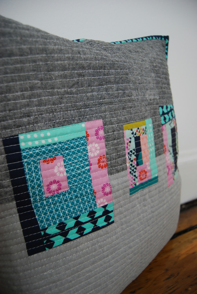 Modern patchwork zipped cushion cover