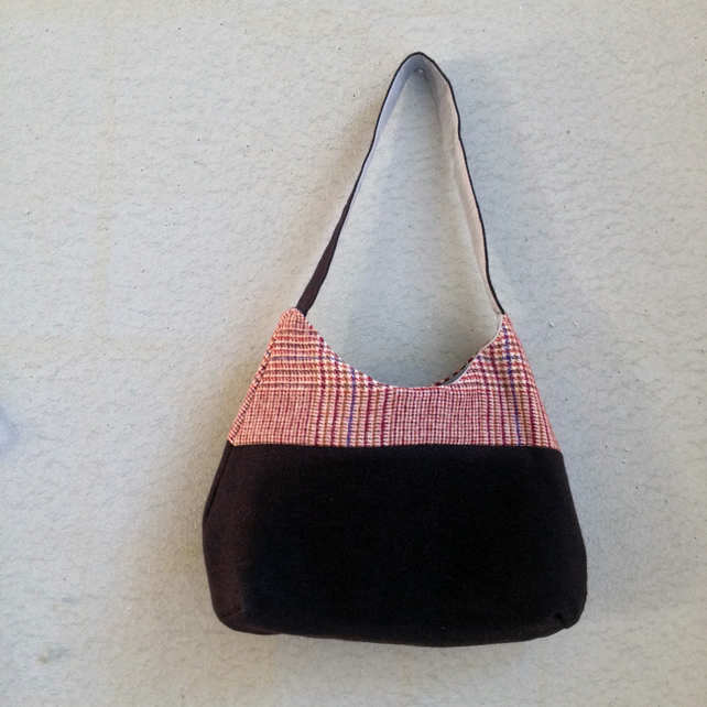 Handmade upcycled wool tweed magnetic snap closure bag