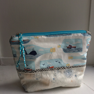 Handmade pure cotton nautical theme toiletries bag