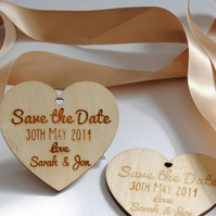 Wooden Personalised Save the Date Hearts