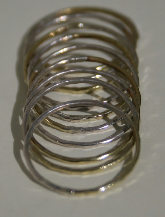 Handmade Sterling Silver and Brass stacking rings - set of 3