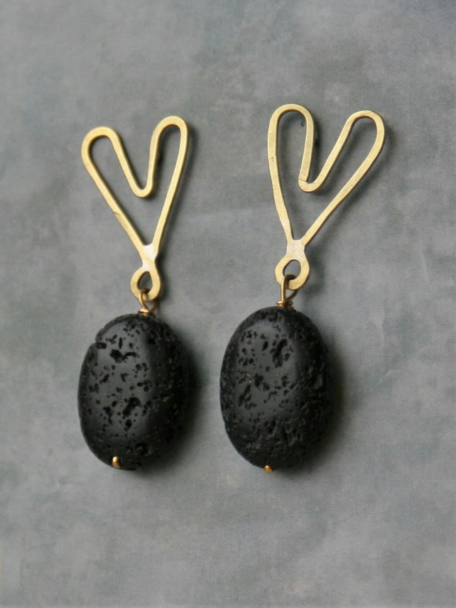 Hammered Brass Heart and Lava Bead Stud Earrings