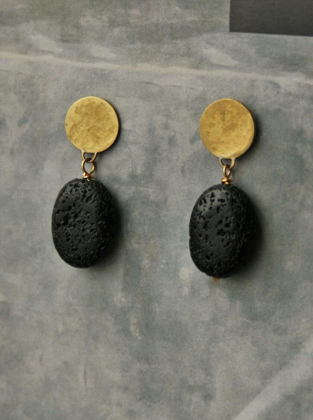 Hammered Brass and Lava Bead Stud Earrings