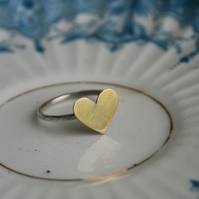 Sterling Silver and Brass heart ring - can be personalised