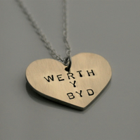 Brass Heart necklace - can be personalised