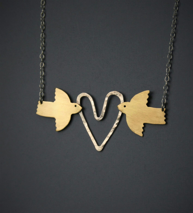 Brass Bird and Silver Heart necklace