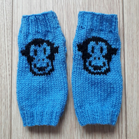 Hand knitted monkey face cheeky chimp fingerless gloves wrist warmers