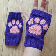 Hand knitted sparkle paw print fingerless gloves wrist warmers