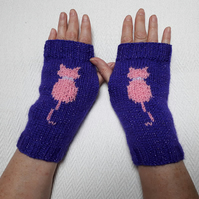 Hand knitted sparkle kitty cat fingerless gloves wrist warmers