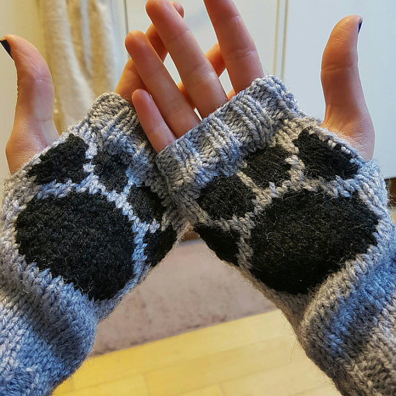 Crochet Gloves With Finger Holes >> Hand knitted animal dog cat wolf paw print fing... - Folksy