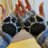 Hand knitted paw print fingerless gloves wrist warmers