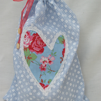 Blue Floral Laundry Lingerie Storage Bag