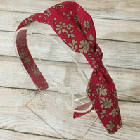 Fabric Headband featuring Liberty of London Red Gold floral