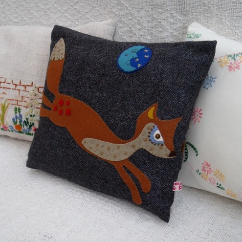 'Moonlit Leaping Hare'  Wool Tweed Cushion
