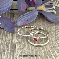 Sterling Silver and Swarovski stacking ring - Rose