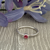 Sterling silver and swarovksi stacking ring - Rose