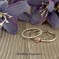 Sterling silver and Swarovski stacking ring set  - Light Rose