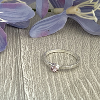 Sterling silver and swarovksi stacking ring - Light Amethyst