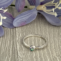 Sterling silver and swarovksi stacking ring - Crystal Paradise Shine
