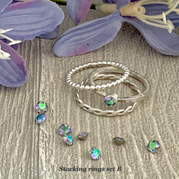 Sterling silver and Swarovski stacking ring set  - Crystal Paradise Shine