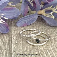 Sterling silver and Swarovski stacking ring set  - Graphite