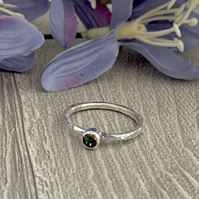 Sterling silver and Swarovksi stacking ring - Crystal Vitrail Medium
