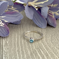 Sterling silver and Swarovksi stacking ring - Aquamarine