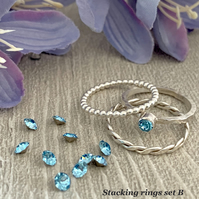 Sterling silver and Swarovski stacking ring set  - Aquamarine