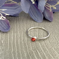 Sterling silver and Swarovksi stacking ring - Padparadscha