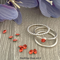 Sterling silver and Swarovski stacking ring set  - Padparadscha