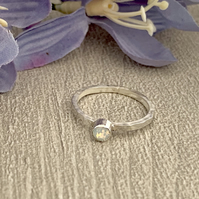 Sterling silver and Swarovksi stacking ring - White Opal