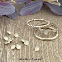 Sterling silver and Swarovski stacking ring set  - White Opal