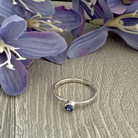Sterling silver and Swarovksi stacking ring - Tanzanite