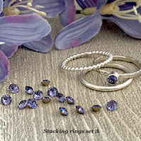Sterling silver and Swarovski stacking ring set  - Tanzanite