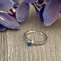 Sterling silver and Swarovksi stacking ring - Crystal Scarabaeus Green