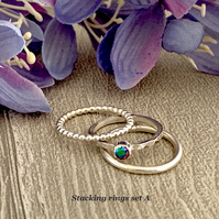 Sterling silver and Swarovski stacking ring set  - Crystal Scarabaeus green
