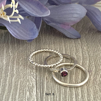 Sterling silver and Swarovski stacking ring set  - Amethyst