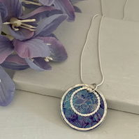 Sterling Silver and Printed Aluminium Halo Pendant - Blue and purple