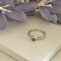 Sterling silver and swarovski stacking ring - Crystal Peony Pink