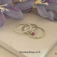 Sterling silver and Swarovski stacking ring set  - Crystal Peony Pink