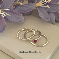 Sterling silver and Swarovski stacking ring set  - Fuchsia