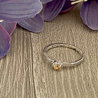 Sterling silver and Swarovski stacking ring - Crystal Golden Shadow