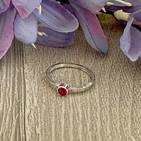 Sterling silver and Swarovski stacking ring - Ruby