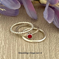 Sterling silver and Swarovski stacking ring set  - Ruby
