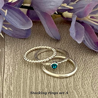 Sterling silver and Swarovski stacking ring set  - Blue Zircon