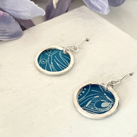 Printed Aluminium and sterling silver earrings - Turquoise peacock print